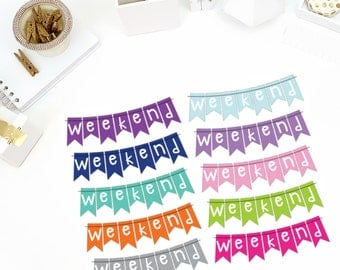 Solid Weekend Stickers! Perfect for your Erin Condren Life Planner, calendar, Paper Plum, Filofax!