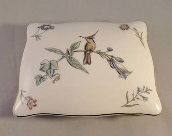 Wedgwood Hummingbird China Playing Card Box/Playing Card Holder/Contract Bridge – complete with original packs of playing cards