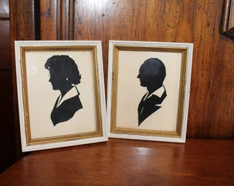 Silhouettes , a Pair , Framed ,Man and a Woman, Vintage