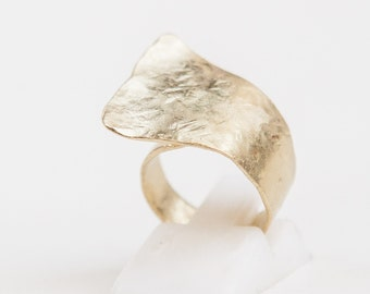 Handmade Handcrafted Hammered Ring, 24k Goldplated,