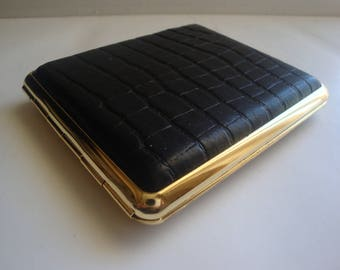 Collectible Vintage Black Embossed Leather Cigarette Case  Made In Germany