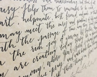 "Wedding Vows, 11x14"", Vows, Calligraphy Vows, Wedding Gift, Anniversary Gift"