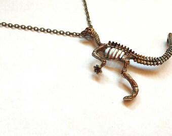 Dinasaur Tyrannosaurus Prehistoric Paleontologist Pendant, Colorful Alcohol Ink Metal Unusual Repurposed Jewelry.
