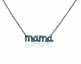Sterling Silver Mama Necklace with Sky Blue Zircon