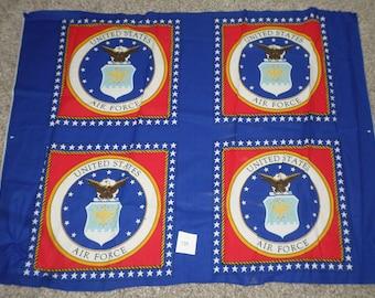 "U.S. AIR FORCE military pillow panels cotton fabric 4 squares for 2 pillows,  military fabric, 35"" cotton fabric panel, patriotic fabric!"
