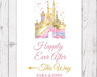 Disney Castle welcome wedding sign Disney wedding sign Happily ever after sign Wedding decor Disney wedding art PInk Gold sign Table sign