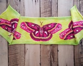 Hand Painted Art Sock Blank -- Neon Moths