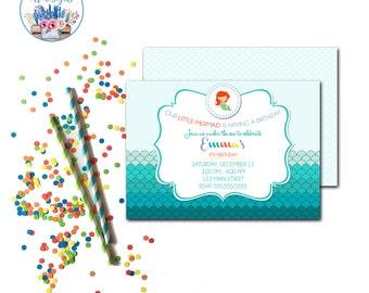 Mermaid Party Invitation, Mermaid Birthday Party Invite, Under the Sea