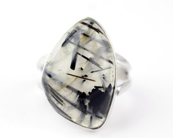 Black Rutile Quartz Ring Sz 7 Native American Ring Sterling Silver boho Ring Sterling Navajo Ring Zuni Southwest Silver Ring Old Pawn