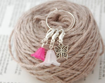 Removable stitch markers for crochet or knittting; pack of 3, locking stitch markers, crochet gift