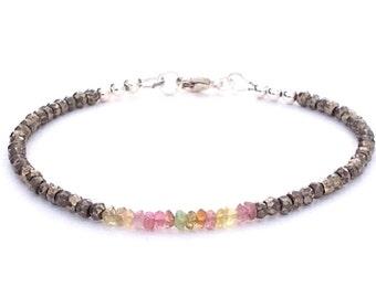 Pyrite Bracelet - Gemstone Bracelet - Bohemian Jewelry - Beaded Bracelet - Gift - Stackable Bracelet - Handmade Bracelet - Delicate Bracelet