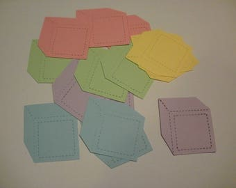 15 Baby Toddler Die Cut Pastel Card Stock Blocks Embellishments Scrapbook Baby Shower Baby Thanks