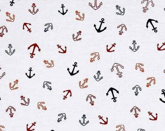 Anchors oranges, red and blue, stretch fabric, jersey knit, marine fabric