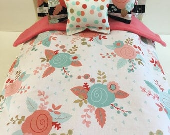 American girl 18 inch doll bedding modern floral 6 piece reversible comforter and pillows