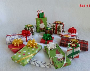 Miniature Presents (1/12th Dollhouse Scale) for Holiday Decorating