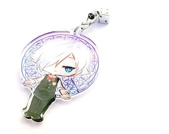 Hand-Drawn Double Sided Front & Back Anime Acrylic Charm with Phone Strap