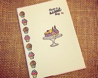 Cupcakes Birthday Card - Cupcakes - Birthday Cake - Sweets - Women's Birthday Card - Blank Inside