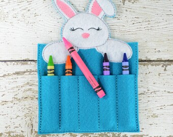 Sweet Bunny Crayon Holder, Toddler Arts and Crafts, Back To School, Travel Case, Easter Gift, Educational, Sweet Bunny, Teacher Supplies