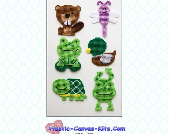 Pond Animals Magnet Set- Beaver, Turtle, Fogs, Duck, Dragonfly-Plastic Canvas Pattern-PDF Download