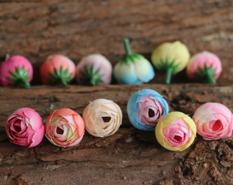 10pcs-2.5cm Cabbage Rose Buds in Pink Blue Yellow- Artificial Rose Flowers Silk Flower Buds