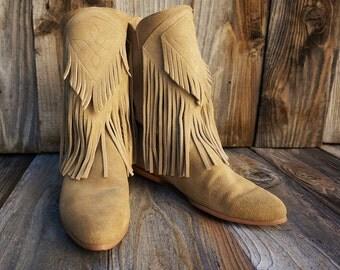Vintage Capezio Fringe Boho Boots, Suede Leather Boots, Women's size 6.5