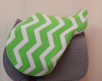 Jump/All-Purpose saddle cover-- Lime green/White Chevron (Ready to ship)