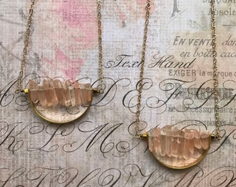 Modern Witchy Necklace // Champagne Quartz Daggers and Brass Half Moon