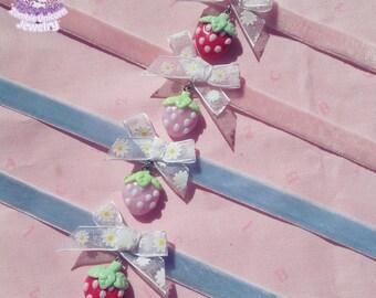Strawberry angel velvet chokers fairy kei yumekawaii