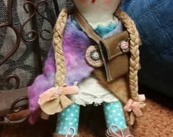 Sale! Reduced price! Rag doll. Soft art doll. Prim doll. Folk art . Chelsea