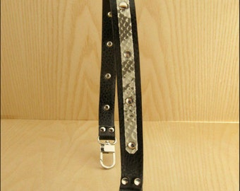 handle for bag made of leatherette  with python belt, available in 2 colors and 2 sizes