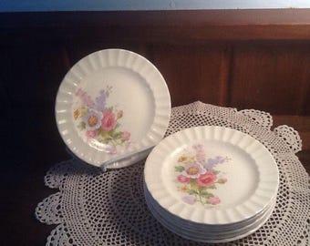 "Vintage, Knowles, 7 KNO596, 5 7/8""  fluted edge dishes, Floral Bouquet, Rose, Delphinium, semi vitreous, blue, lavender, pink"