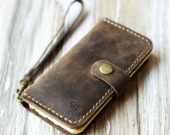 Wristlet iPhone 7 case iPhone 7 plus wallet case iPhone 7 cover iPhone 7 plus case wallet cover vintge look - Distressed Brown
