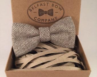 Handmade Tweed Bowtie in Herringbone - Adult & Junior sizes available