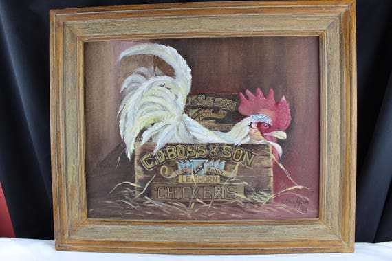 Original Oil Painting, Medium, Farm House Decor, Rooster, Advertising