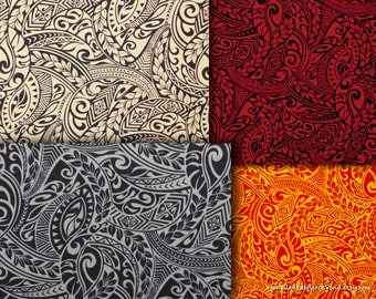 Fabric Hawaiian Paisley Tapa Patterns Dresses and Crafts, Cream Gray Gold Black, HPCN9819/9820/9948/9961 Ask for bulk