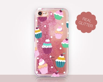 Cupcakes Glitter Phone Case Clear Case For iPhone 8 iPhone 8 Plus - iPhone X - iPhone 7 Plus - iPhone 6 - iPhone 6S - iPhone SE  iPhone 5