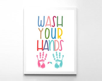 Kids Bathroom Print Wash Your Hands Art Boys Bathroom Girls Bathroom Bathroom Print Wash Your Hands Bathroom Art Bathroom Wall Art