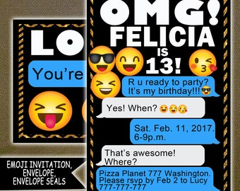 Emoji Party, Emoji Invitation, Emoji Birthday Invitation, Emoji Printable Invitation, Emoji Inspired Invitation