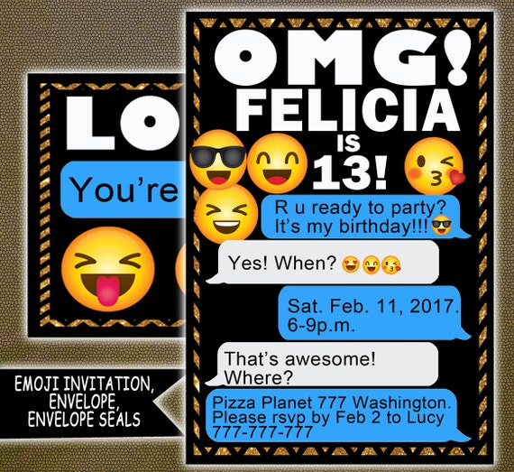 Emoji Birthday Printables Invitations