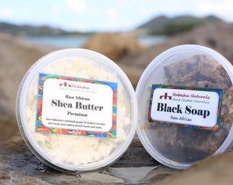 Black Soap & Shea Butter Winter Skin Combo. Dry Skin. Eczema Relief. Sun damage skin renwewal set. Raw Shea Butter. African Black Soap.