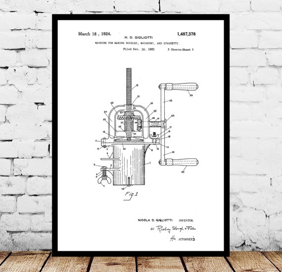 Pasta maker patent pasta maker poster pasta maker blueprint for Blue print maker