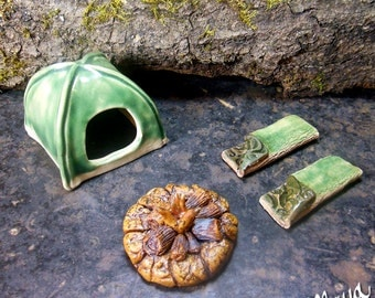 3 pc. Miniature Ceramic Camping Set for Fairy Gardens   Green Tent and Two Sleeping Bags