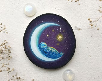 Moon Dreams   Original painting on wood   MADE TO ORDER