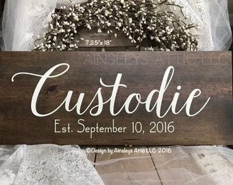 "7.25x18"" Wood Last Name Sign; Last Name Wall Art; Wedding Name Sign; Family Name Sign; Last Name RusticWoodSign; PersonalizedEstablishedSign"