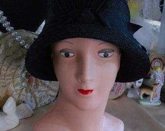 Beautiful 1920's Flapper/Downton Abbey/Great Gatsby Black Straw Hat/Cloche