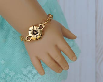 Gold Flower Bracelet for American Girl and other 18 inch dolls