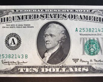 1963-A Ten Dollar Federal Reserve Note A 25382143 B