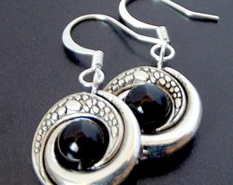 Onyx Earrings, Boho Style Glossy Black Gemstone Earrings, Scaled Swirl with Gem, Gift for Her, Festival Coachella Jewelry, Unique Earrings