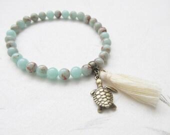 Jasper bracelet, summer bracelet, tassel bracelet, beach jewelry, turtle bracelet