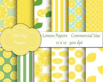 Lemon Digital Paper, Lemonade Digital Paper, Digital Paper, Lemon background, citrus background, yellow background, commercial use